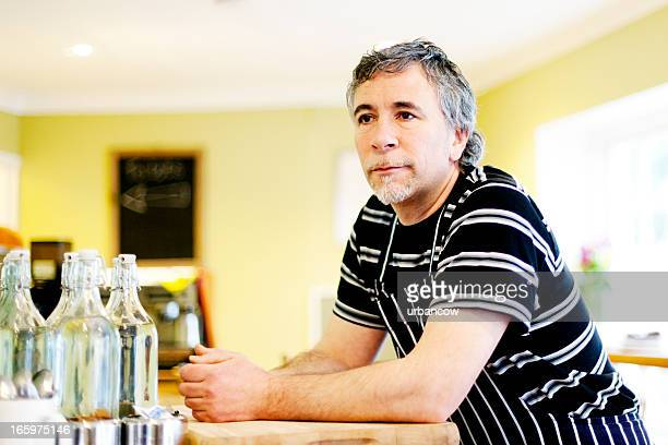 Restaurant proprietor, thinking