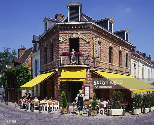 Restaurant, Saint Leu Quarter and River Somme, Amiens, Somme, Picardy, France