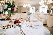Catering service. Restaurant table with food. Wedding celebration, decoration. Dinner time, lunch.
