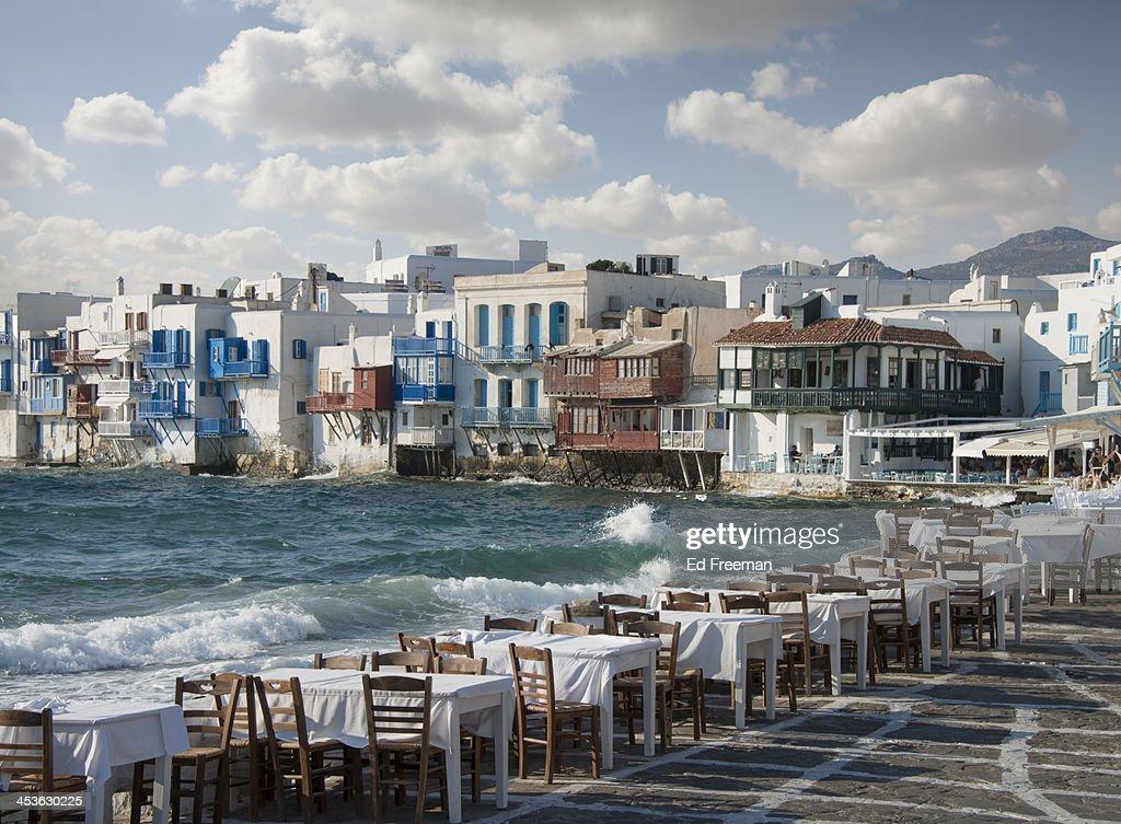 Restaurant Tables on the Mykonos Shoreline