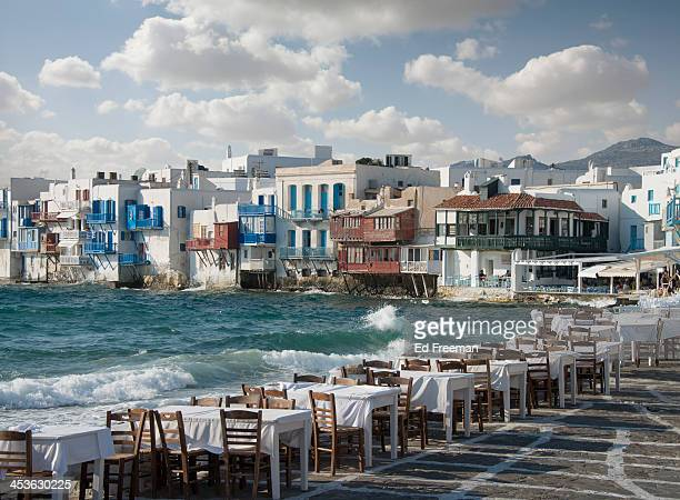 Restaurant Tables on the Mykonos Shoreline