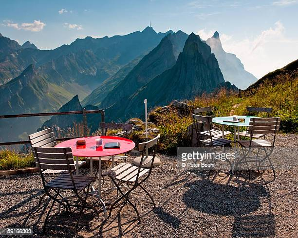 Restaurant terrace, view over mountains, S?ntis