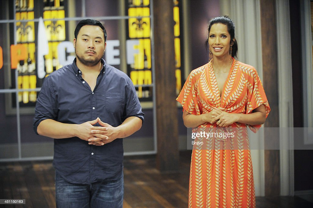 TOP CHEF -- 'Restaurant Wars' -- Episode 1109 -- Pictured: (l-r) Judges David Chang, <a gi-track='captionPersonalityLinkClicked' href=/galleries/search?phrase=Padma+Lakshmi&family=editorial&specificpeople=201593 ng-click='$event.stopPropagation()'>Padma Lakshmi</a> --