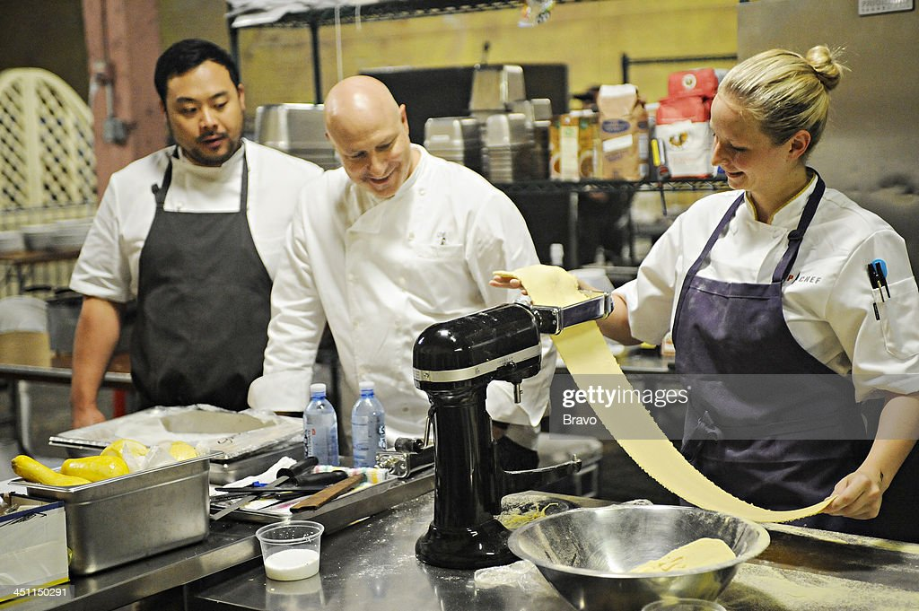 TOP CHEF -- 'Restaurant Wars' -- Episode 1109 -- Pictured: (l-r) Judges David Chang, Tom Colicchio, contestant Stephanie Cmar --
