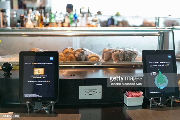 AIRPORT TORONTO ONTARIO CANADA Restaurants are starting to use digital technology for self serving regarding the customer seeing their menu ordering...