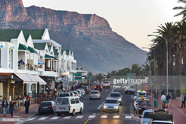 Restaurants at Camps Bay in Late afternoon at dusk