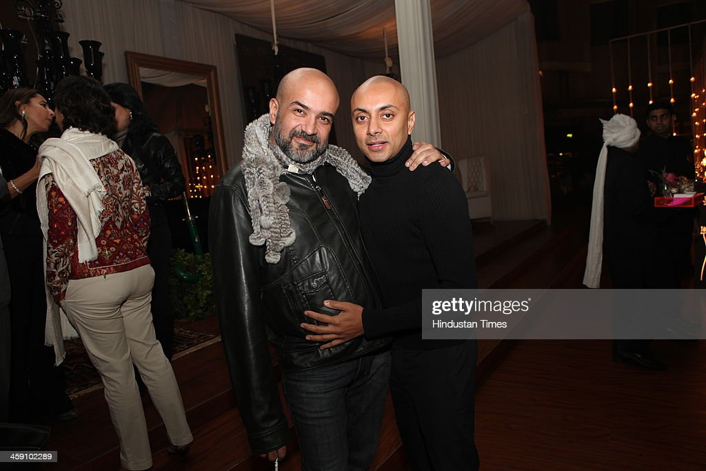 Restaurateur Gautam Kalra (L) with Vikram Baidyanath, CEO of Baidyanath group at the launch party of Rohit Bal Luxury Weddings at Nandiya Gardens, ITC Maurya on December 18, 2013 in New Delhi, India.