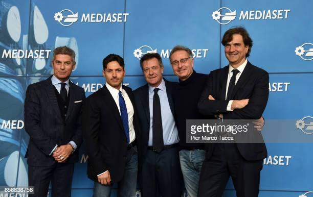 Restelli Giorgio Pier Silvio Berlusconi Alessandro Salem Paolo Bonolis and Giancarlo Scheri attend the Paolo Bonolis press meeting on March 23 2017...