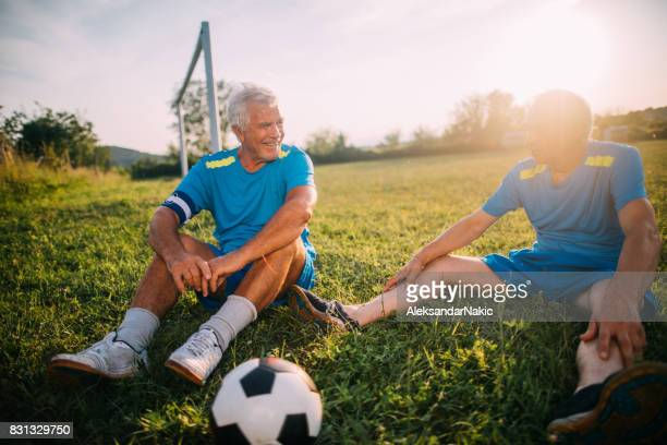 Resting after a soccer game