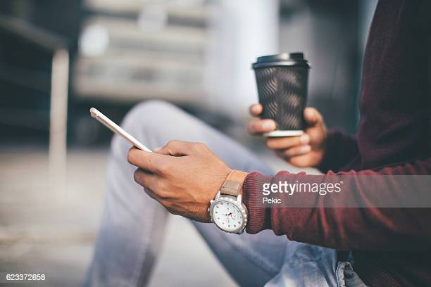 Resting and using phone after job