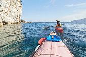 Resting at sea with sea kayak