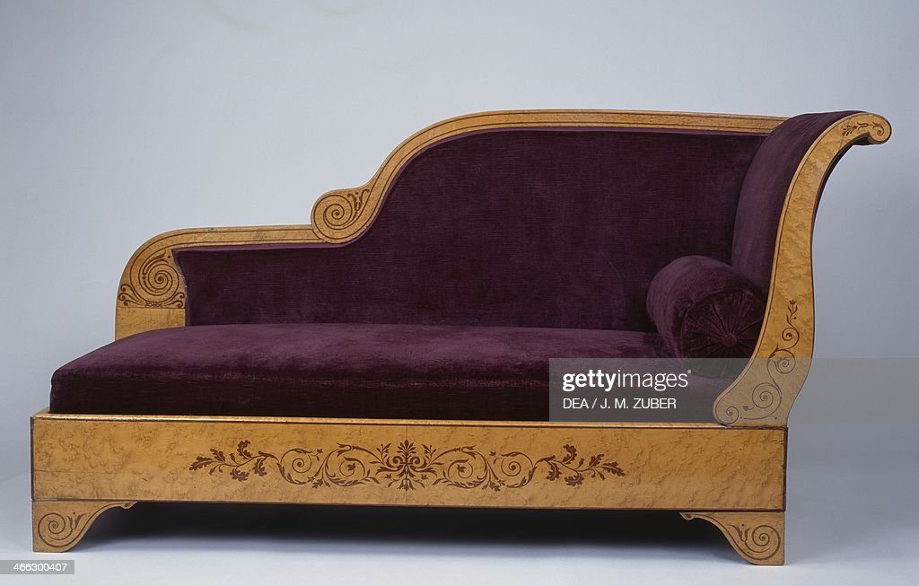 Restoration style ash fainting couch with amaranth inlays France 19th century