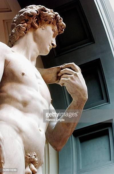 Restoration work on Michelangelo's masterpiece David is completed May 24 2004 at the Galleria dell'Accademia in Florence The work has taken a...