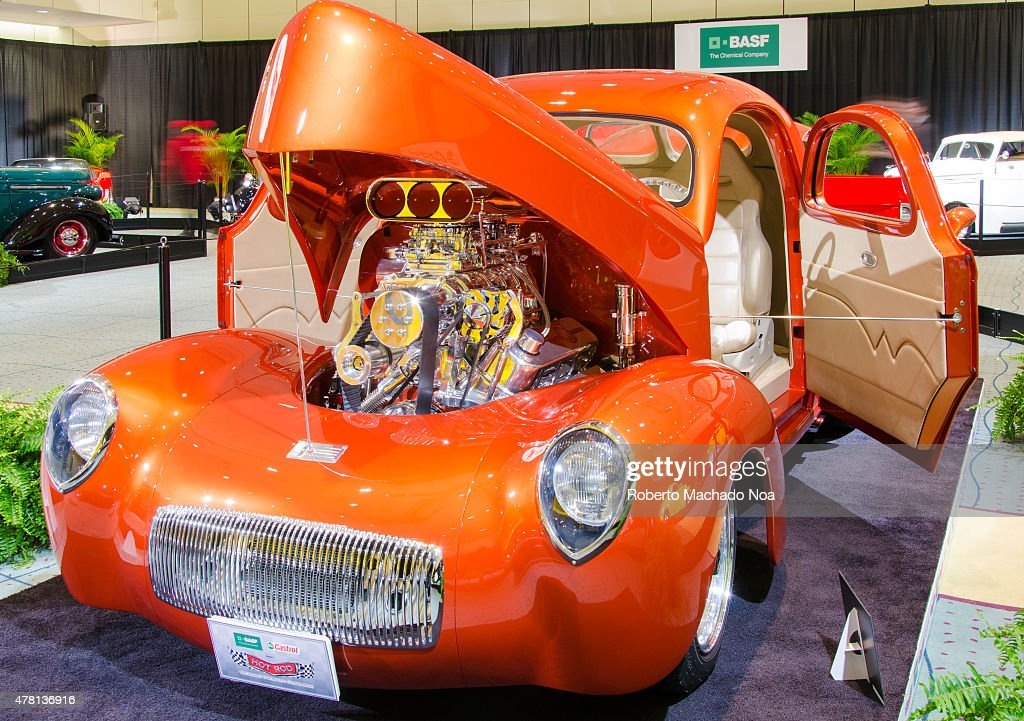 CENTRE TORONTO ONTARIO CANADA Restored car with tuning with open the hood and doors in Canada International Auto Show The Canadian International...