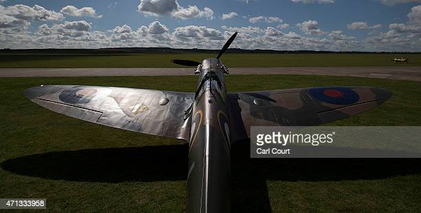 A restored Vickers Supermarine Spitfire Mk1A on April 27 2015 is pictured at Imperial War Museum Duxford in Cambridge England The Spitfire one of the...
