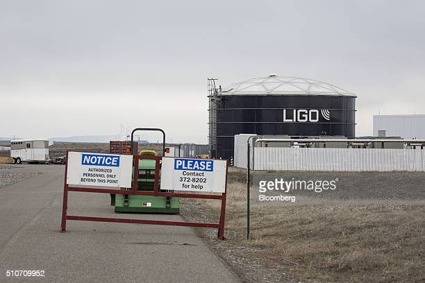 A restricted entrance to the Laser Interferometer GravitationalWave Observatory at the Hanford Site is pictured in Richland Washington US on Saturday...
