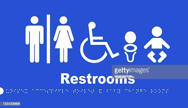 トイレの標示ブルーと白の、点字表示付きのテキスト
