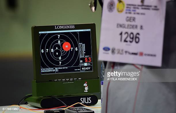 A result screen shows the value of shots in AUDI Arena of Gyor on February 26 2016 during the qualification round of 10m air rifle category for women...