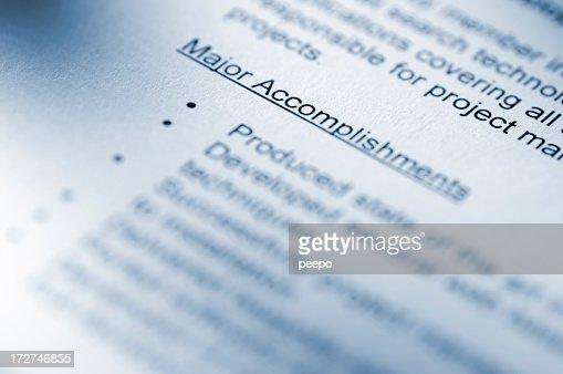 Resume Close Up