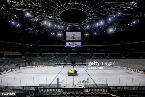 A resurfacer prepares ice for a practice of Czech Republic for the 2016 World Cup Of Hockey preparation match between Czech Republic and Russia at O2...