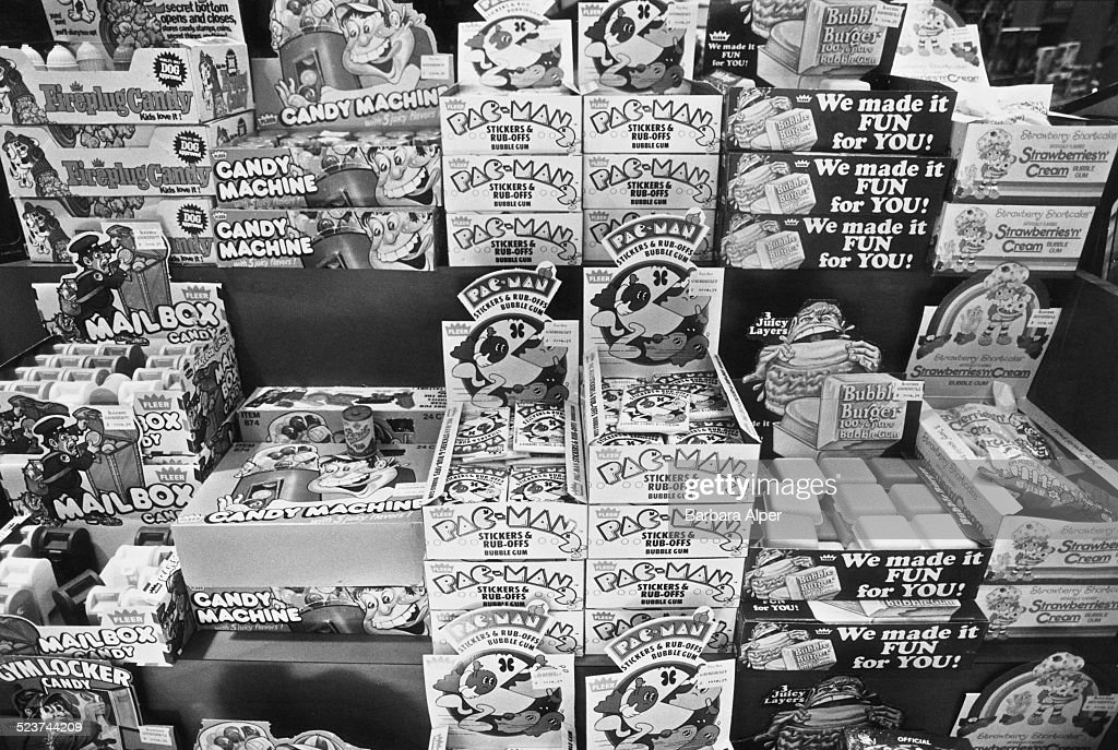 A retail display featuring Pac-Man candy and chewing gum at the Paramus Park Mall, New Jersey, USA, 14th August 1982.