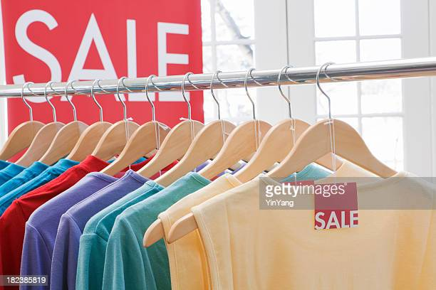 Retail Sale—Clothes Shopping in Fashion Store for Color Tops