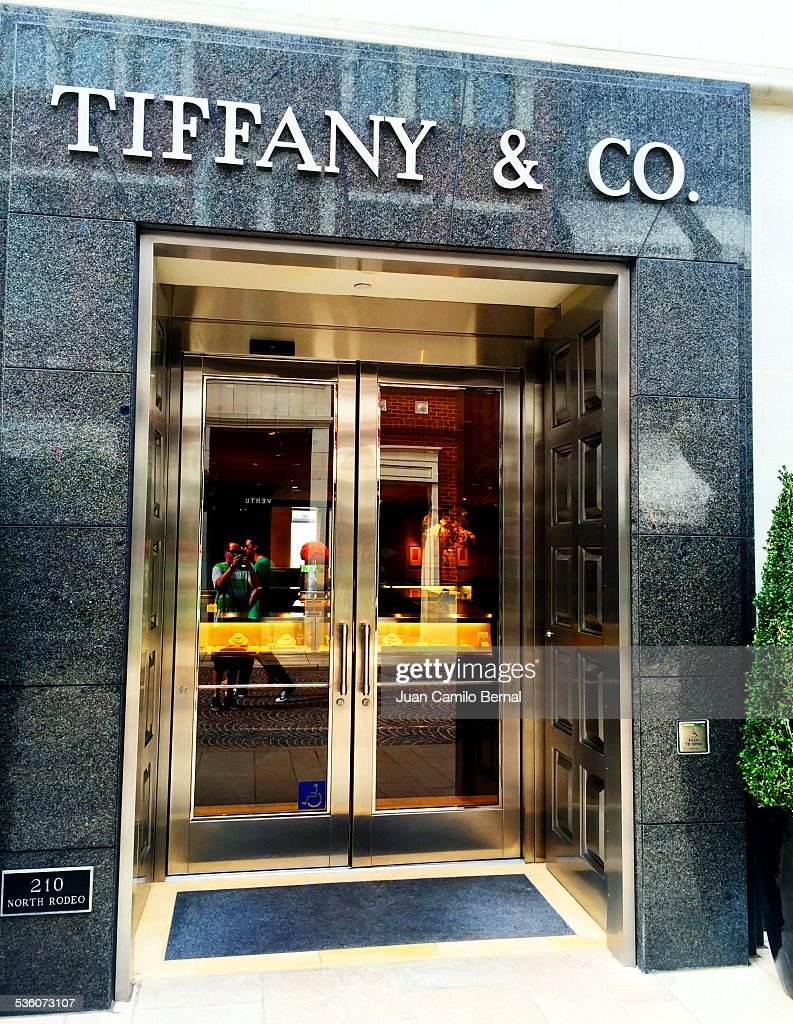 Retail signs Tiffany Co store in Rodeo Drive Beverly Hills California on January 28 2015
