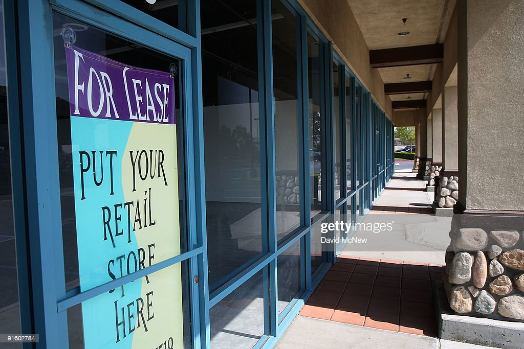 Retail space for lease in a strip mall is advertised on October 8 2009 in Fontana California Third quarter reports indicate that US strip mall...