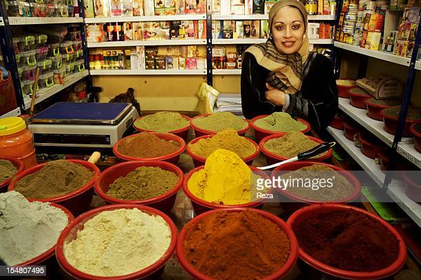 A retailer infront of her spices at the market Madina Jadida on April 9 in Oran Algeria