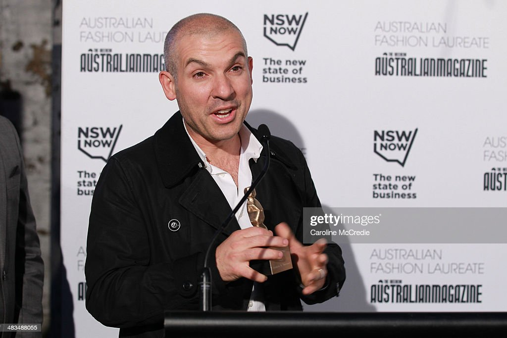 Retailer winner Scanlan & Theodore speaks at the Australian Fashion Laureate during Mercedes-Benz Fashion Week Australia 2014 at Star Lounge, Carriageworks on April 9, 2014 in Sydney, Australia.