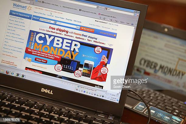 Retailers advertise Cyber Monday deals on their websites on November 26 2012 in Chicago Illinois Americans are expected to spend $15 billion while...