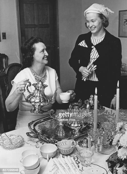 Retarded Children to Benefit Mrs Albert Seep left pours tea for Mrs Dennis Miles Jackson at a recent committee party for the June 11 Philadelphia...