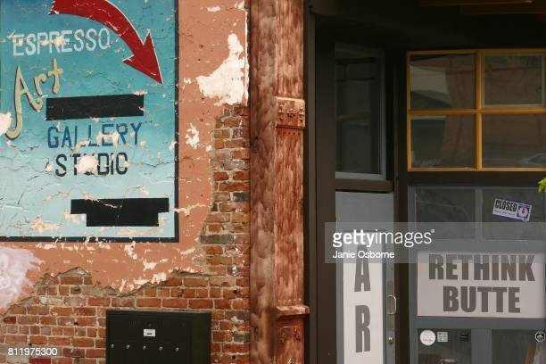 A 'Rethink Butte' sign is displayed in downtown Butte on July 6 2017 in Butte Montana Butte is home to the toxic Berkeley Pit Formerly an open pit...