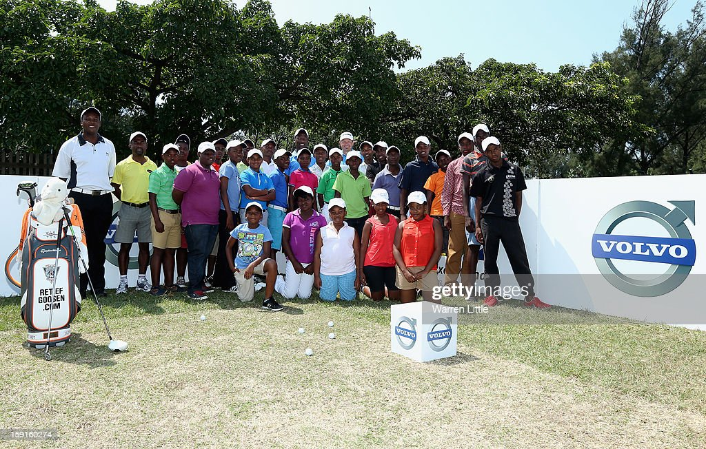 Retief Goosen hosts a development golf clinic for 28 of the South African Golf Development Board's young golfers from KwaMashu, Cato Crest, Umhlali and Mwandla's hometown of Shakaskraal during the Pro-Am for the Volvo Golf Champions at Durban Country Club on January 9, 2013 in Durban, South Africa.
