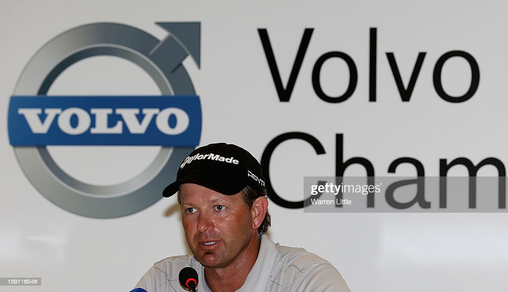 <a gi-track='captionPersonalityLinkClicked' href=/galleries/search?phrase=Retief+Goosen&family=editorial&specificpeople=201918 ng-click='$event.stopPropagation()'>Retief Goosen</a> of South Africa addresses a press conference ahead of the Volvo Golf Champions at Durban Country Club on January 8, 2013 in Durban, South Africa.
