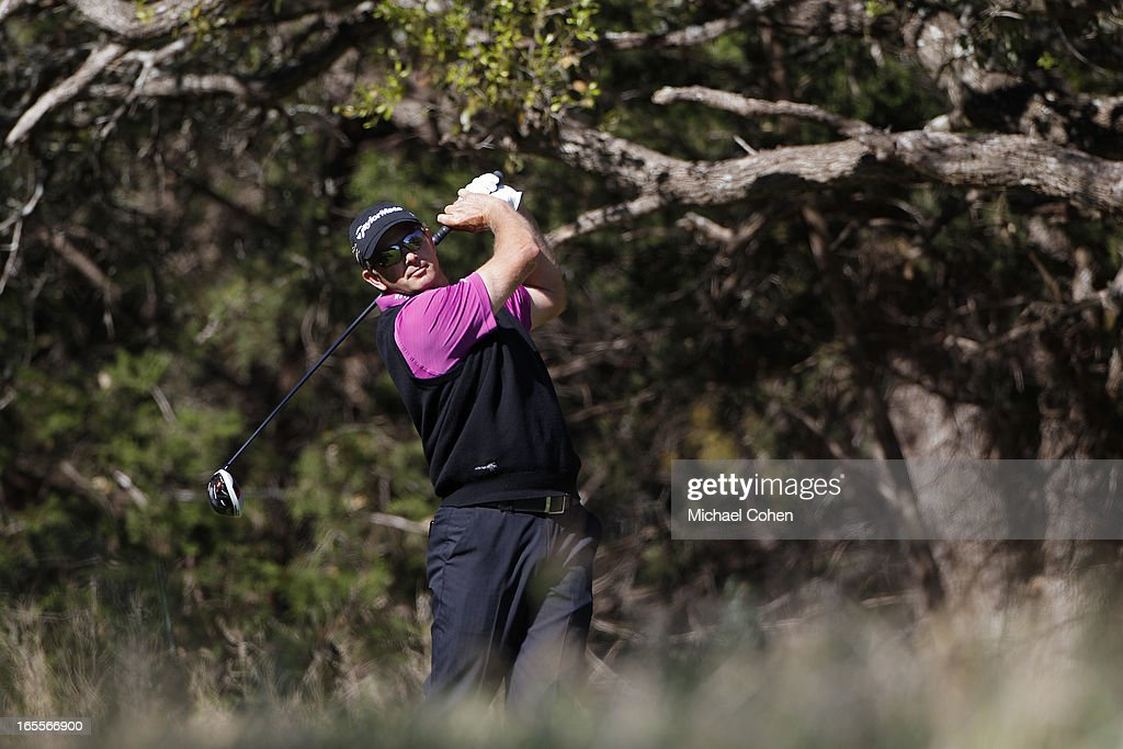 Retief Goosen of South Africa hits a drive during the first round of the Valero Texas Open held at the AT&T Oaks Course at TPC San Antonio on April 4, 2013 in San Antonio, Texas.