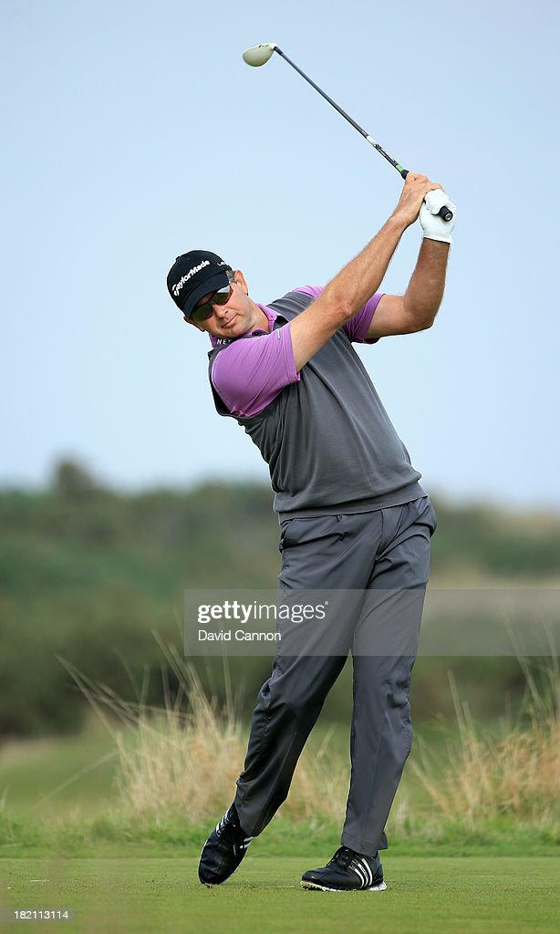 Retief Goosen of South Africa plays off the nineth tee during the third round of the Alfred Dunhill Links Championship on The Old Course, at St Andrews on September 28, 2013 in St Andrews, Scotland.