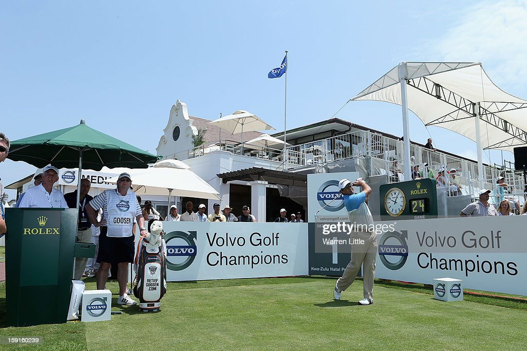 Retief Goosen of South Africa tees off on the first hole during the Pro-Am for the Volvo Golf Champions at Durban Country Club on January 9, 2013 in Durban, South Africa.