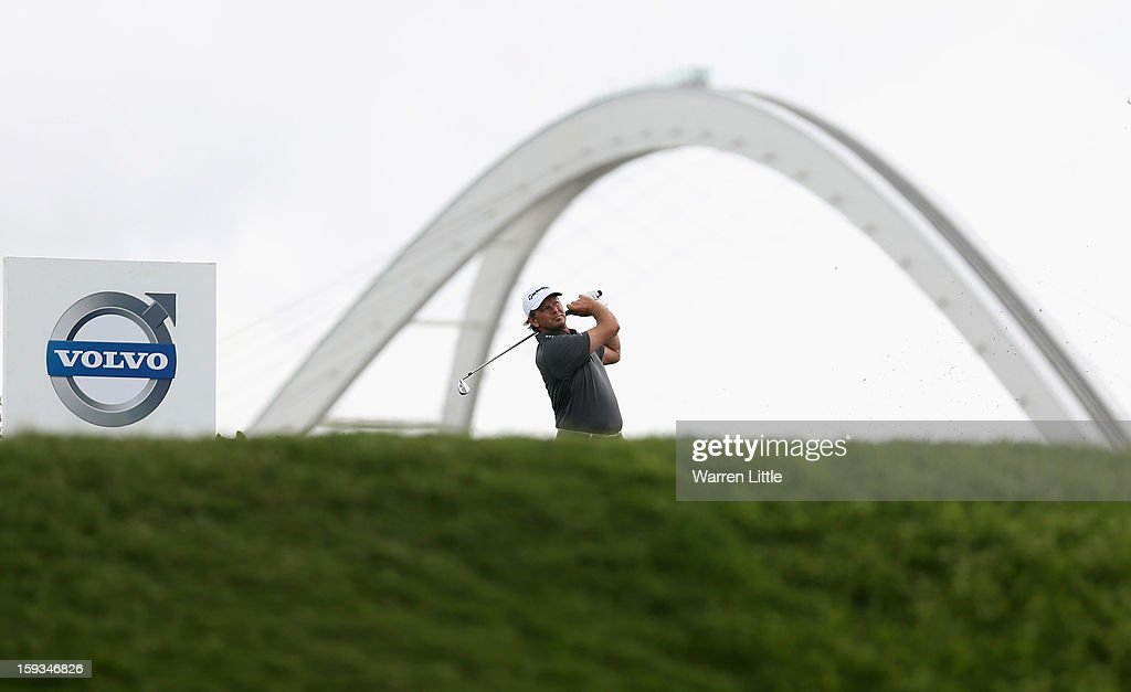 Retief Goosen of South Africa tees off on the second hole during the third round of the Volvo Golf Champions at Durban Country Club on January 12, 2013 in Durban, South Africa.