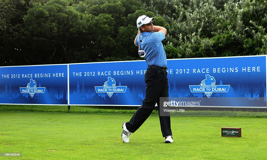 <a gi-track='captionPersonalityLinkClicked' href=/galleries/search?phrase=Retief+Goosen&family=editorial&specificpeople=201918 ng-click='$event.stopPropagation()'>Retief Goosen</a> of South Africa tees off to start the 2012 Race To Dubai during the first round of the Africa Open at East London GC on January 5, 2012 in East London, South Africa.
