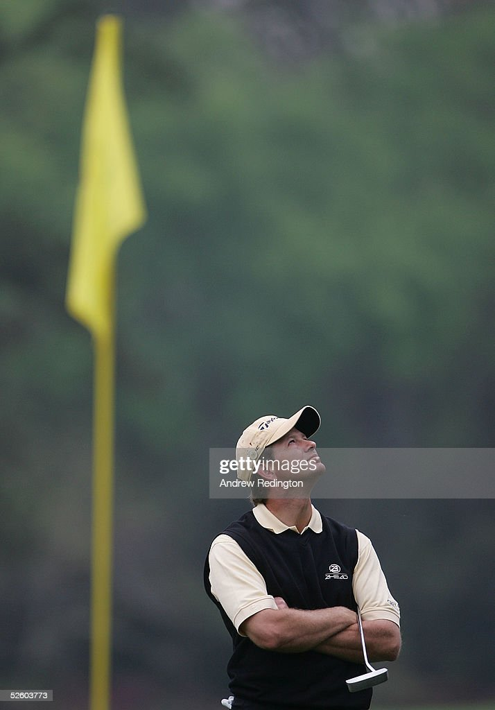 Retief Goosen of South Africa waits on the 17th green during the first round The Masters at the Augusta National Golf Club on April 8, 2005 in Augusta, Georgia.