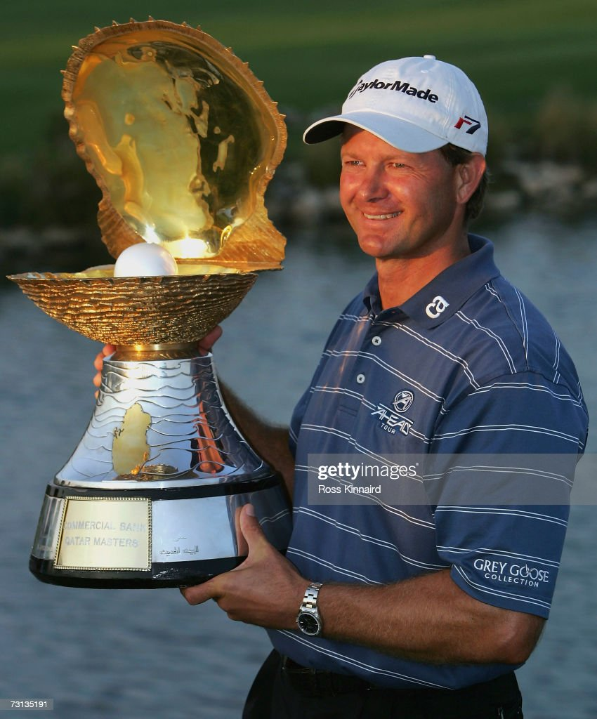 Retief Goosen of South Africa with the winners trophy after the final round of the Commercial Bank Qatar Masters at Doha Golf Club on January 282007...
