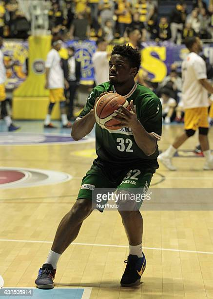 Retin Obasohan during Italy Lega Basket of Serie A match between Fiat Torino v Sidigas Avellino in Turin on january 22 2017