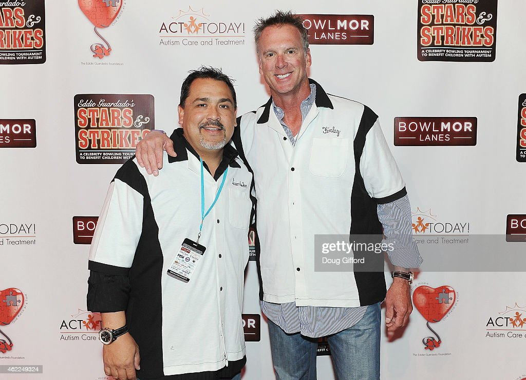 Retired 2-time MLB All-Star Pitcher and founder of <a gi-track='captionPersonalityLinkClicked' href=/galleries/search?phrase=Eddie+Guardado&family=editorial&specificpeople=178202 ng-click='$event.stopPropagation()'>Eddie Guardado</a> Foundation, <a gi-track='captionPersonalityLinkClicked' href=/galleries/search?phrase=Eddie+Guardado&family=editorial&specificpeople=178202 ng-click='$event.stopPropagation()'>Eddie Guardado</a> and Retired 5-Time All-Star Pitcher, <a gi-track='captionPersonalityLinkClicked' href=/galleries/search?phrase=Chuck+Finley&family=editorial&specificpeople=242777 ng-click='$event.stopPropagation()'>Chuck Finley</a> pose before the 4th Annual Stars and Strikes Celebrity Bowling Tournament at Bowlmor Lanes at Anaheim Garden Walk on January 25, 2015 in Anaheim, California.
