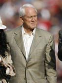 Retired 49ers head coach Bill Walsh at halftime as the San Francisco 49ers defeated the Seattle Seahawks by a score of 20 to 14 at Monster Park San...