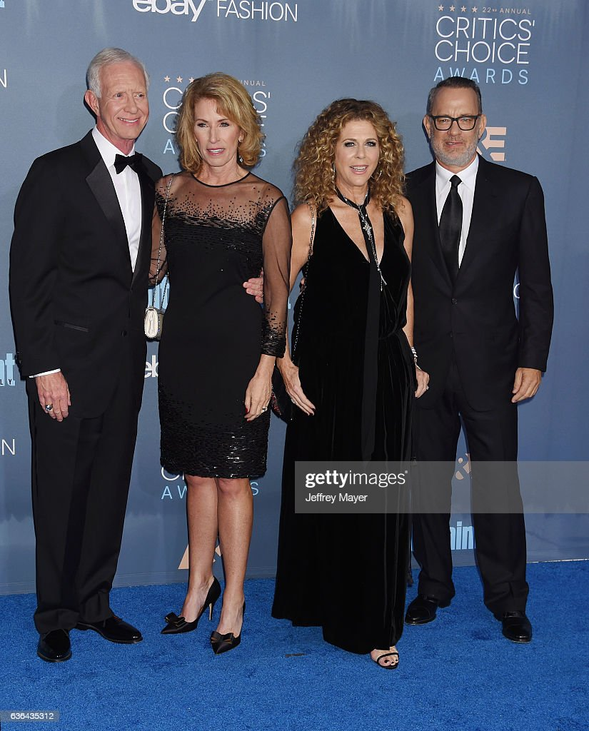 Retired airline pilot Chesley 'Sully' Sullenberger III, wife Lorrie Sullenberger, actress Rita Wilson and actor Tom Hanks arrive at The 22nd Annual Critics' Choice Awards at Barker Hangar on December 11, 2016 in Santa Monica, California.