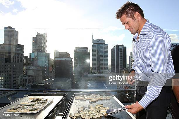Retired All Black captain Richie McCaw competes in a whitebait fritter cook off against celebrity chef Ben Bayly for Westpac on March 10 2016 in...