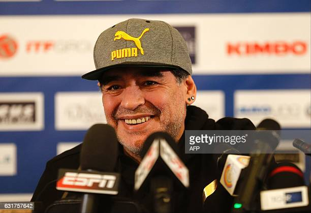 Retired Argentinian professional footballer Diego Armando Maradona attends a press conference at San Carlo Theatre in Naples on January 15 2017...
