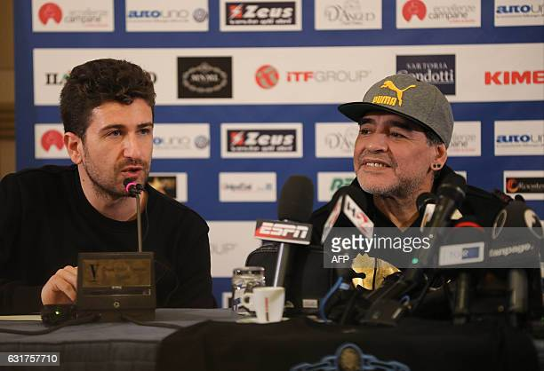 Retired Argentinian professional footballer Diego Armando Maradona and Italian actor and director Alessandro Siani deliver a press conference at San...