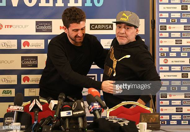 Retired Argentinian professional footballer Diego Armando Maradona and Italian actor and director Alessandro Siani arrive to deliver a press...